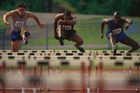 PVC pipe hurdles are cheap replacements for competition and practice hurdles.