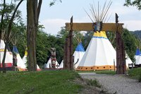 "Decorate your teepee's ""hide"" with crayons, markers, stickers or paint."