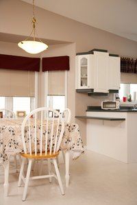 Linoleum floor is durable and useful in kitchens, bathrooms and dining rooms.