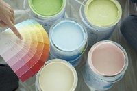 Paint cans with swatches.