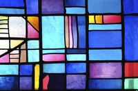 Use dyed Plexiglas to create faux stained glass.