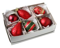 Box dividers can help you organize objects like Christmas ornaments.