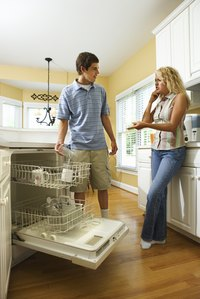 Properly loading the dishwasher helps all dishes dry evenly.