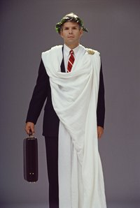 A sheet toga is a simple idea for an office costume day.