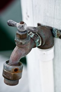 An outside spigot can potentially freeze in the winter.