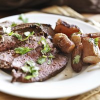 Thinly slicing flank steak helps keep it tender.
