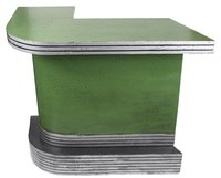 Metal edging is commonly found on laminate countertops but can be installed on plywood surfaces as well.