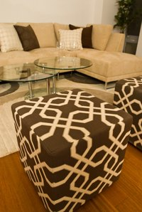 Pouf ottoman fabric can match or contrast the other furniture in your seating area.