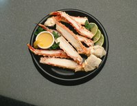 Crab legs can be halved before or after steaming.