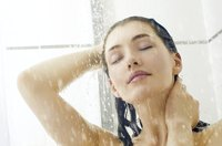 A window in a shower is vulnerable to water damage.
