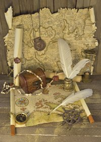 Fill that treasure box with maps, a compass, a telescope or money.