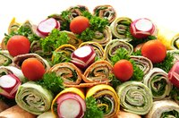 Use both flavored and plain wraps to make the platter prettier.
