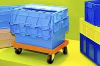 Plastic container box on wheels.
