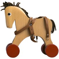 Wooden horses have manes and tails made from a range of materials.