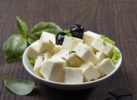 Bowl of fresh feta cheese