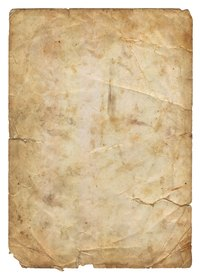 Old parchment paper features tears and lines from wear.