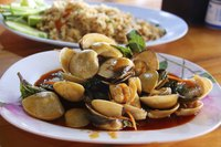 Plate of clams cooked Thai style.