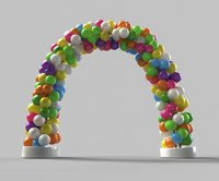 A balloon arch made from wire is held up with helium.