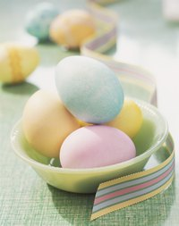 Colorful Easter eggs make a beautiful display.