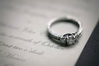 Ring on a wedding invitation.