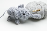 Combining crochet stitches is the key to creating adorable creatures like this tiny elephant.