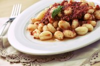 Gnocchi with tomato sauce.