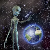 A gray-skin alien studies his findings about Earth.