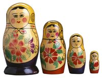 Russian nesting dolls are made of wood and covered in paper mache.