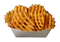 Toss or spray waffle fries lightly with oil to make them crispier.