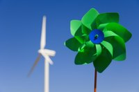 Handheld windmills teach children about wind generated power.
