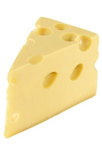 Swiss, or Emmental, cheese is known for its firm texture and abundance of holes.