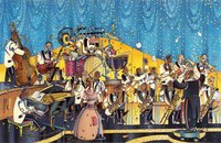 A painted image of a big band performing in a grandstand.
