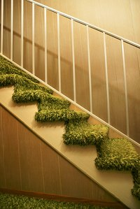 Carpeted steps can transition smoothly to laminate flooring with a stair nose molding.
