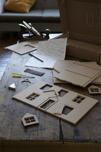 Various levels of detail are possible when creating cities out of cardboard material.