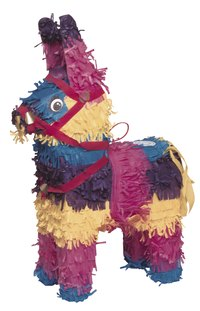 Conceal cracks in a pinata by covering it with decorations.