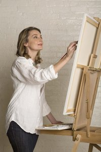 Artists use stretched canvas for paintings.