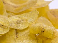 Thin-cut plantain makes crisp chips when baked.