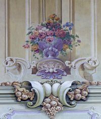 This fresco style painting of a baroque floral arrangement includes the characteristic fruit motifs that commonly accompany the flowers.