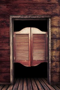 Swinging doors set the stage for a saloon vibe inspired by Western movies.