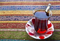 Tea in Turkey is served in a short, tulip-shaped glass.