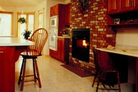 Paint your brick fireplace so that it coordinates more with the look of your home.