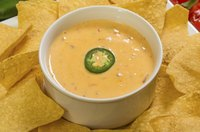 Close-up of chile con queso in small dish