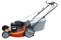 Storing a lawn mower and its bag indoors increases their lifespans.