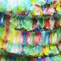 Choose colorful garbage bags to make a bright, eye-catching wreath.