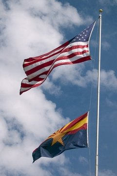 Create 3D posters where features leap at the viewer, such as Arizona's flag's star.