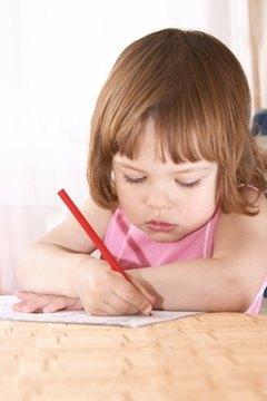 Writing activities encourage beginning writing skills in kindergarten students.