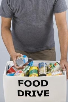 Non-profits perform hunger relief through food drives.
