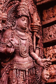Ornate carvings are typical of many Hindu temples.