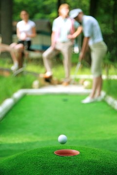 Mats are used at home when golfing outside is difficult.