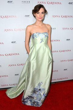 Keira Knightley wears an empire-waist dress at the Anna Karenina premiere in Hollywood.
